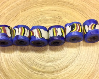 6 Blue Flat-Ended Striped Trade Beads