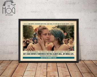 Blue is the Warmest Color Poster - La vie d'Adèle Print - Quote Retro Movie Poster - Movie Print, Film Poster, Wall Art