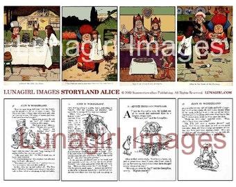 ALICE in WONDERLAND digital collage sheet, vintage storybook, text pages, pictures art, Victorian children's illustration ephemera DOWNLOAD