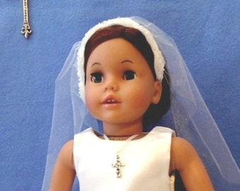 First Communion Doll Dress / Confirmation Doll Dress / Rhinestone Tea Length Doll Dress, Veil and Necklace / Fits American Girl – 8019TR