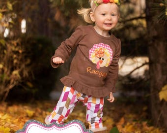 Thanksgiving Shirt, Turkey Shirt, Girls Thanksgiving Shirt, Girls Turkey Shirt, Turkey Applique Shirt, Turkey Embroidery