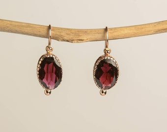 Rose Gold Garnet Earrings - January Birthstone  - Vintage Jewelry - Anniversary Gift Wife - Garnet Dangle Earrings - Gemstone Jewelry