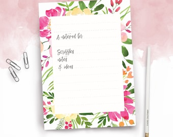 Floral Notes A5 Daily Organiser Notepad To Do List and Pencil Set