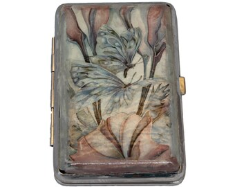 Cigarette Holder, Cigarette Box, Butterfly Decoupage Cigarette Case, Decorated Cigarette Case, Metal Cigarette Case, Business Card Holder