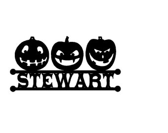 3 Jack-o-Lanterns Custom Text  (B13)