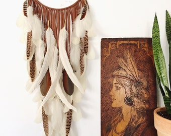 "Brown Leather Dream Catcher w/ Quartz Crystals 10"" x 33"". Handmade. Wall hanging."