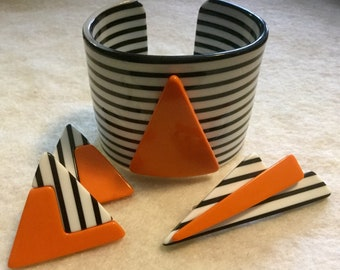 Lea Stein Style Bangle 3pc Black Stripe Cuff Black Laminated Cuff Cellulose Cuff Lucite Cuff Plastic Cuff Orange Black White Cuff Vintage