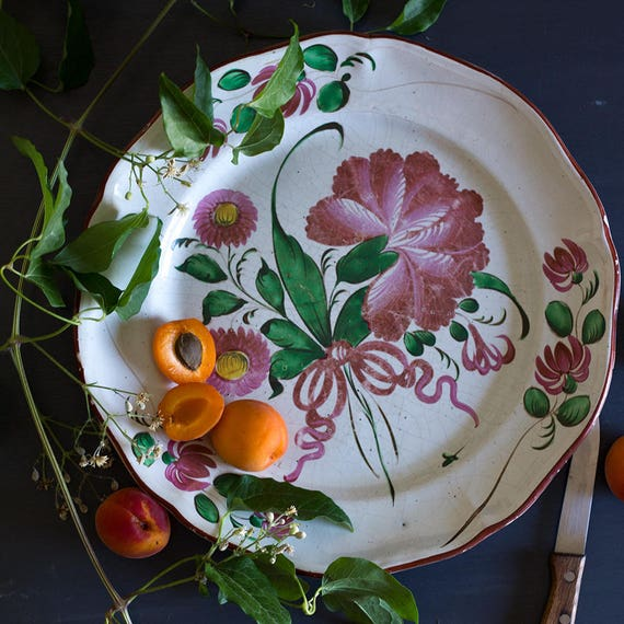 Antique French Garden Bouquet Handpainted Plate