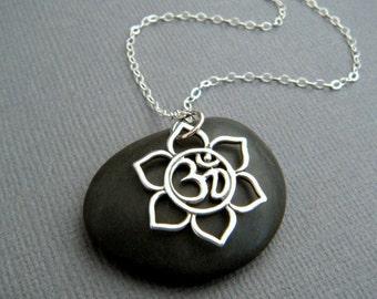 "small lotus flower om necklace. sterling silver yoga pendant. eastern flower. ohm zen yogi jewelry. simple boho bohemian charm. gift 3/4"""
