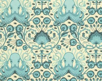 Tula Pink Fabric, Octo Garden, PWTP029 Aqua, Free Spirit, 100% Cotton, #FS57