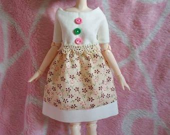 Two-tone flowers for pullip doll mini dress