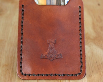 Mens leather wallet with money clip. Leather Money Clip wallet with Thor's Hammer Mjölnir. Superhero.