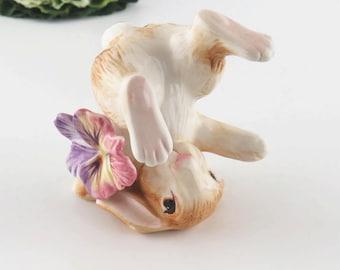 Vintage Fitz and Floyd Classics Tumbling Rabbit Porcelain Figurine Hand Painted Purple Violet Flower Easter Decor Bunny Knick Knack