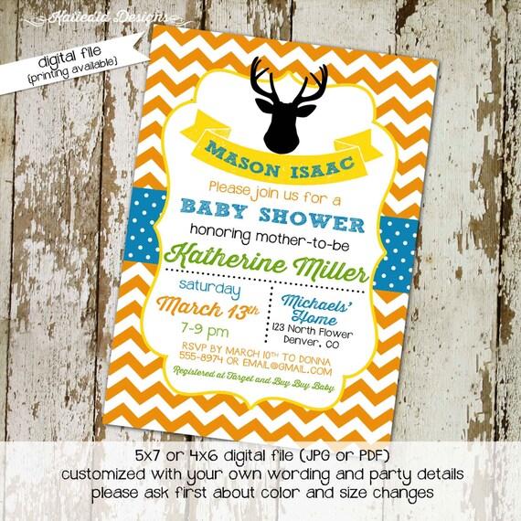 rustic baby boy shower invitation deer boy oh boy little boy 1st birthday diaper wipe brunch co-ed baby shower chevron 12108 Katiedid Design