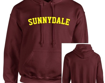 Maroon Sunnydale Buffy Style SHS Adult Unisex Hooded Sweatshirt With Print on Front Only Hoodie High