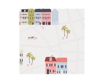 Popeline coton imprimé petites maisons CHARLESTON ART GALLERY designer .x1m