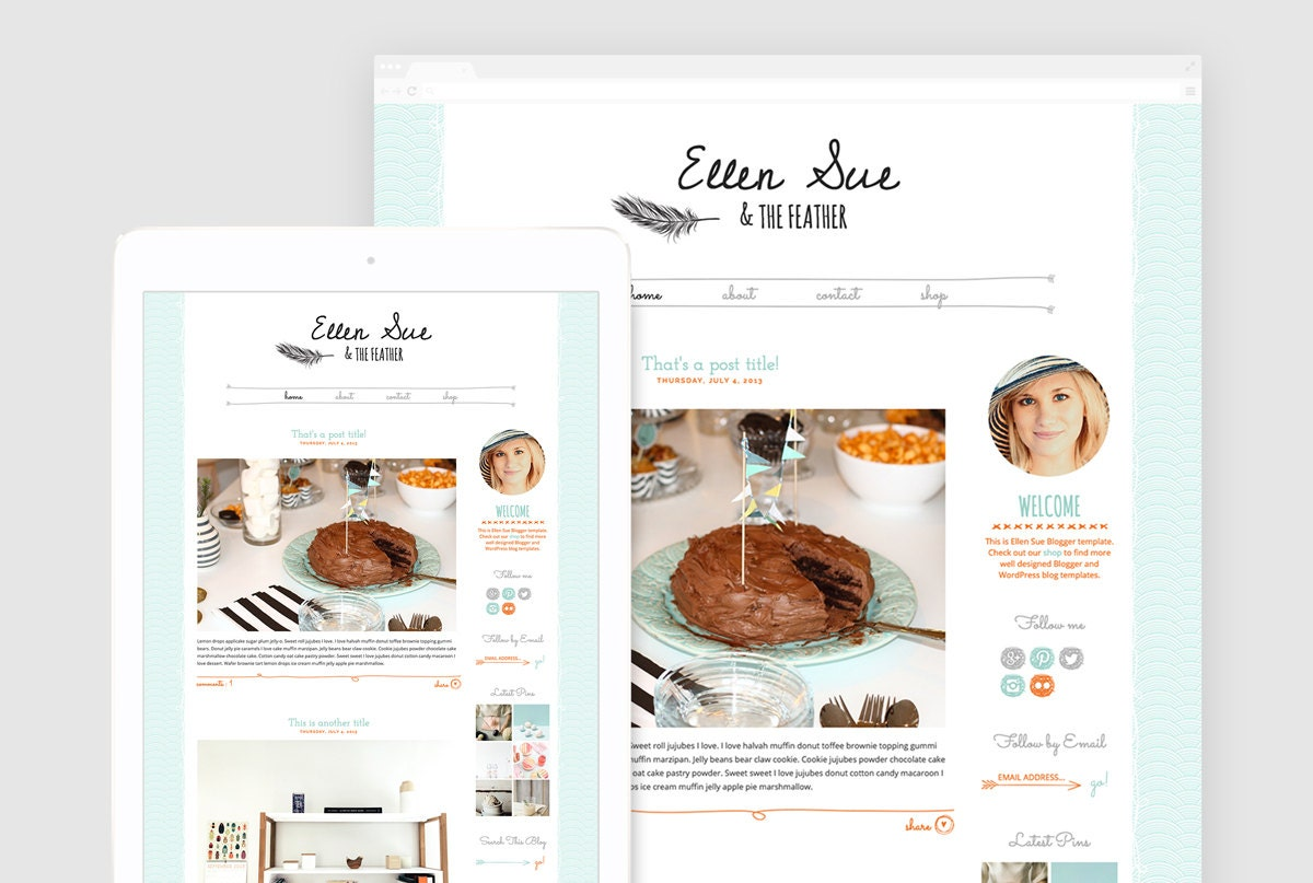 Cute Blogger Template Premade Blogger Design Hand drawn