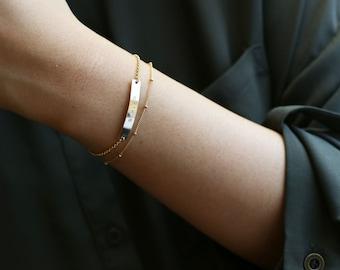 Personalized Name Bar bracelet SET -  Gold Name Bar bracelet // Your Name Here, Gold plate dainty everyday Bracelet, Gift for her