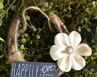 Rustic Lucky Horseshoe-Wedding Gift-Farm charm-Bridal-Horse decor-Equestrian-Country-Western-Good luck-Cowgirl