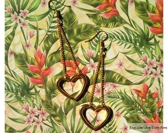 Heart earrings, chains earrings, sweet Lolita earrings, gold hearts earrings, gold earrings, fancy earrings, festive chandelier earrings