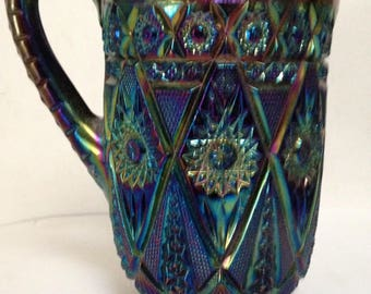 Antique RARE Carnival Glass Diamond Lace Pattern Amethyst Pitcher-Large