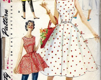 """Vintage 1956 Simplicity 1662 Wrap Around Dress in Two Lengths Sewing Pattern Size 16 Bust 34"""" UNCUT"""