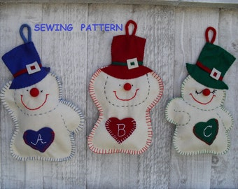 Snowmen Felt Christmas Ornaments - Sewing  pattern  PDF how to make wall hanging Christmas decoration-,DIY CHristmas crafts