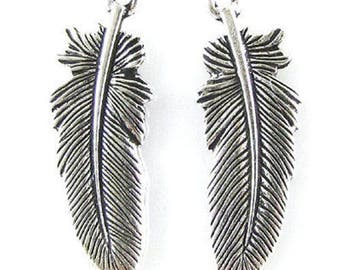 TierraCast Pewter Charms-SILVER LARGE FEATHER 30mm (2)