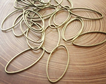 10x25mm brass oval hoops - 25 pieces - destash