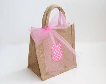 Eco-friendly Jute Bag/Easter Bag/Personalized Bag/Eco-friendly Gift/Easter Gift /Environmentally Friendly Bag/Teacher's Gift/Easter Basket
