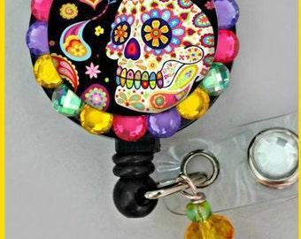 black colorful skull  ID badge reel (E71)
