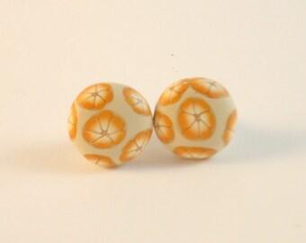 Studs earrings. Flowers button earrings. Polymer clay earrings. Handmade studs earrings in polymer clay. Floral studs earrings ooak design.
