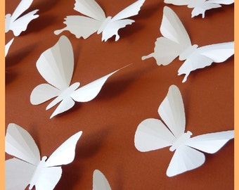 3D Wall Butterflies - 20 White Butterfly Silhouettes, Wedding, Nursery
