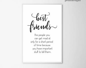 Best Friends Poster, Printable Friendship Wall Art, Inspirational Friends Quote Print, Funny Friendship Gift, Gift for Best Friends