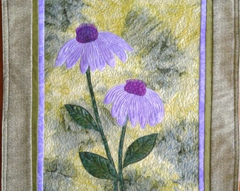 Quilt Art, Wall Hanging, Cone Flowers