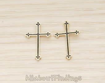 PDT1616-G // Glossy Gold Plated Black Epoxy Cross Pendant, 2 Pc