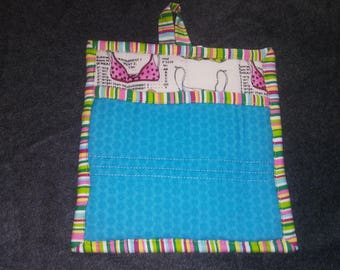 9 X 8 Bras Print in Blue, Pink and White. Pot Holder, Hot Pad, Oven Mitt, Insulated, Quilted, Big Pocket, Loop.