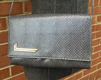 Vintage Faux Snake Skin Purse - Charcoal Grey Gray with Gold Metal Details - Shoulder Bag Evening Bag - Working Girl 9 to 5 1980s -