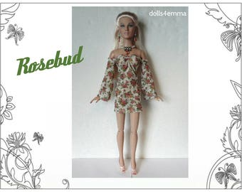 "Tyler Doll Clothes - ROSEBUD floral Dress and Jewelry Set - Custom Fashion fits 16"" Tonner dolls - by dolls4emma"