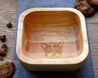 French Bulldog or Boston Terrier Square Wooden Bowl (SMALL 12.5 x12.5cm) | Snack bowl