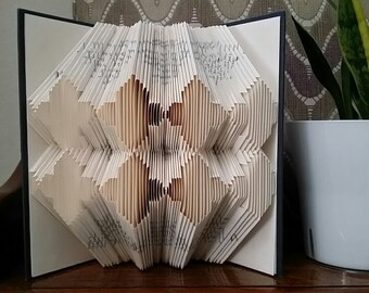 Folded book art, Moroccan design, recycled book sculpture