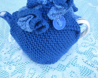 Vintage Tea Cosy - Blue and Pale Blue with Buttons - Vintage Style for your teapot.