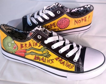 Hand painted BRAINZ Sneakers Shoes Trainers - we tailor to your taste! Shoe Wizzards 3Fiddy.