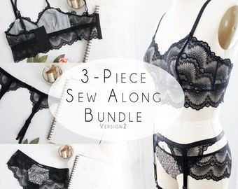 Valentines Day Sew Along Bundle Version 2 Jasmine Bra, Claudia Panties, and FREE Cora Garter Suspenders PDF Sewing Pattern