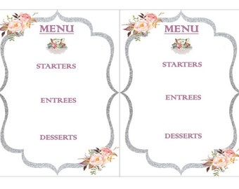 EDITABLE TEA PARTY Menu 5x7 Template