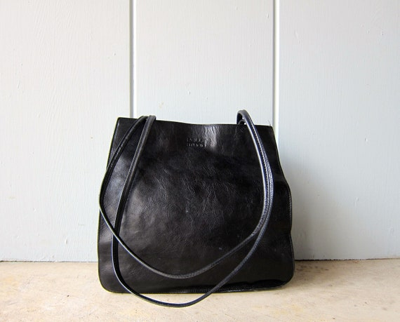Double Strap Black Leather Purse Square Shoulder Bag 90s Modern Bag Wilsons Leather Tote