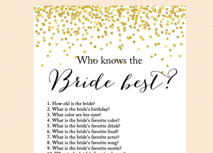 Who Knows The Bride Best How Well Do You Know Game