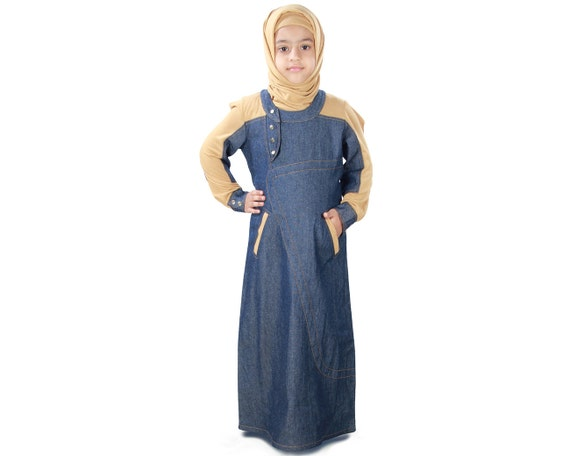 mybatua afifa blue and beige islamic girls kids long jalabiya