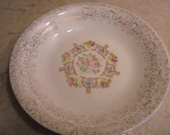 Vintage Union Made Sebring Ohio USA 22k Gold Liberty Pattern Victorian Style Serving Bowl