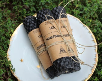 LAVA / TRANSFORMATION - Hemp and Beeswax Hand Rolled Candles - Crystal Infused Beeswax Honeycomb Thoughtful Candles